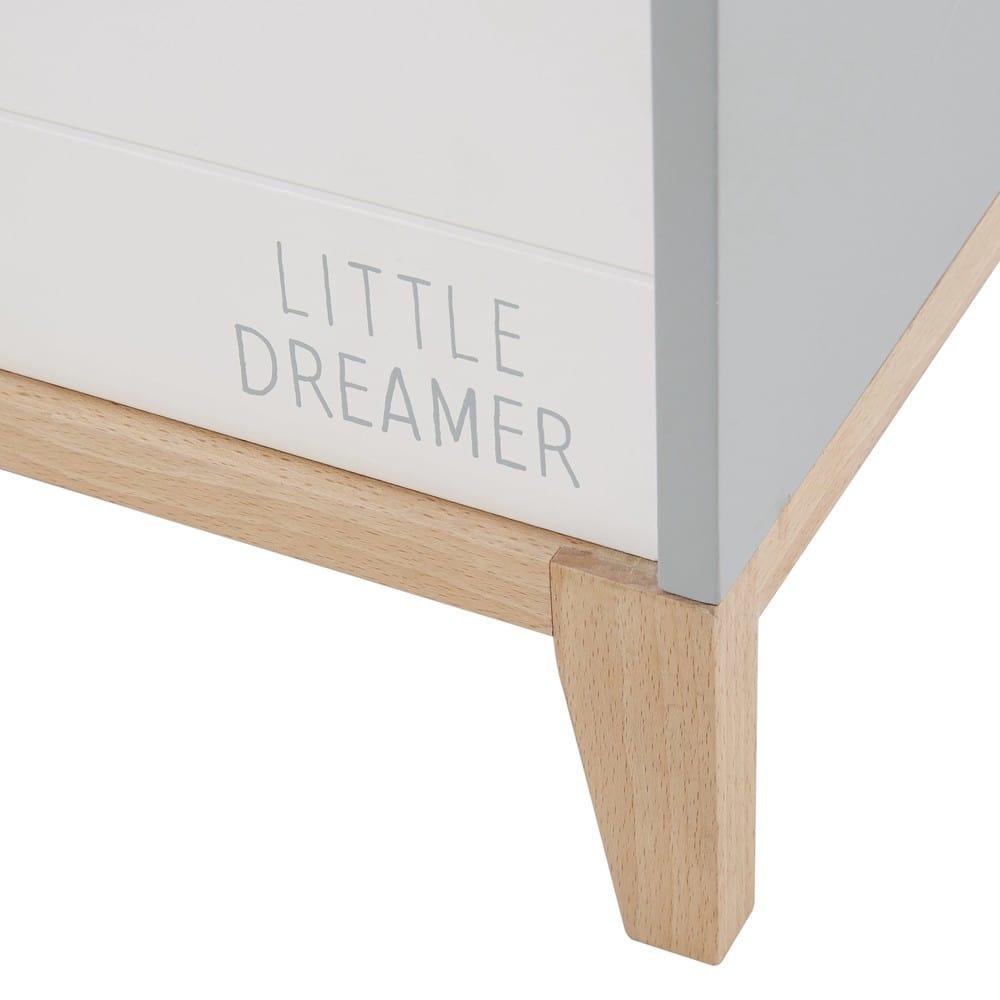 coffre jouets enfant blanc et gris gaspard maisons du. Black Bedroom Furniture Sets. Home Design Ideas