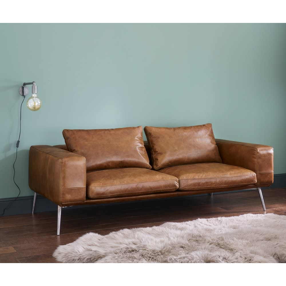 Cognac Vintage 3 Seater Leather Sofa