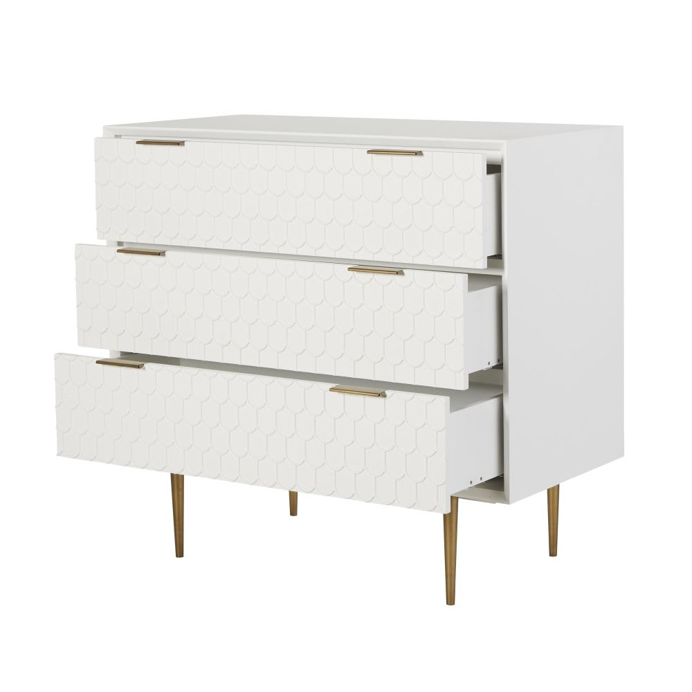 commode 3 tiroirs blanc satin riverside maisons du monde. Black Bedroom Furniture Sets. Home Design Ideas
