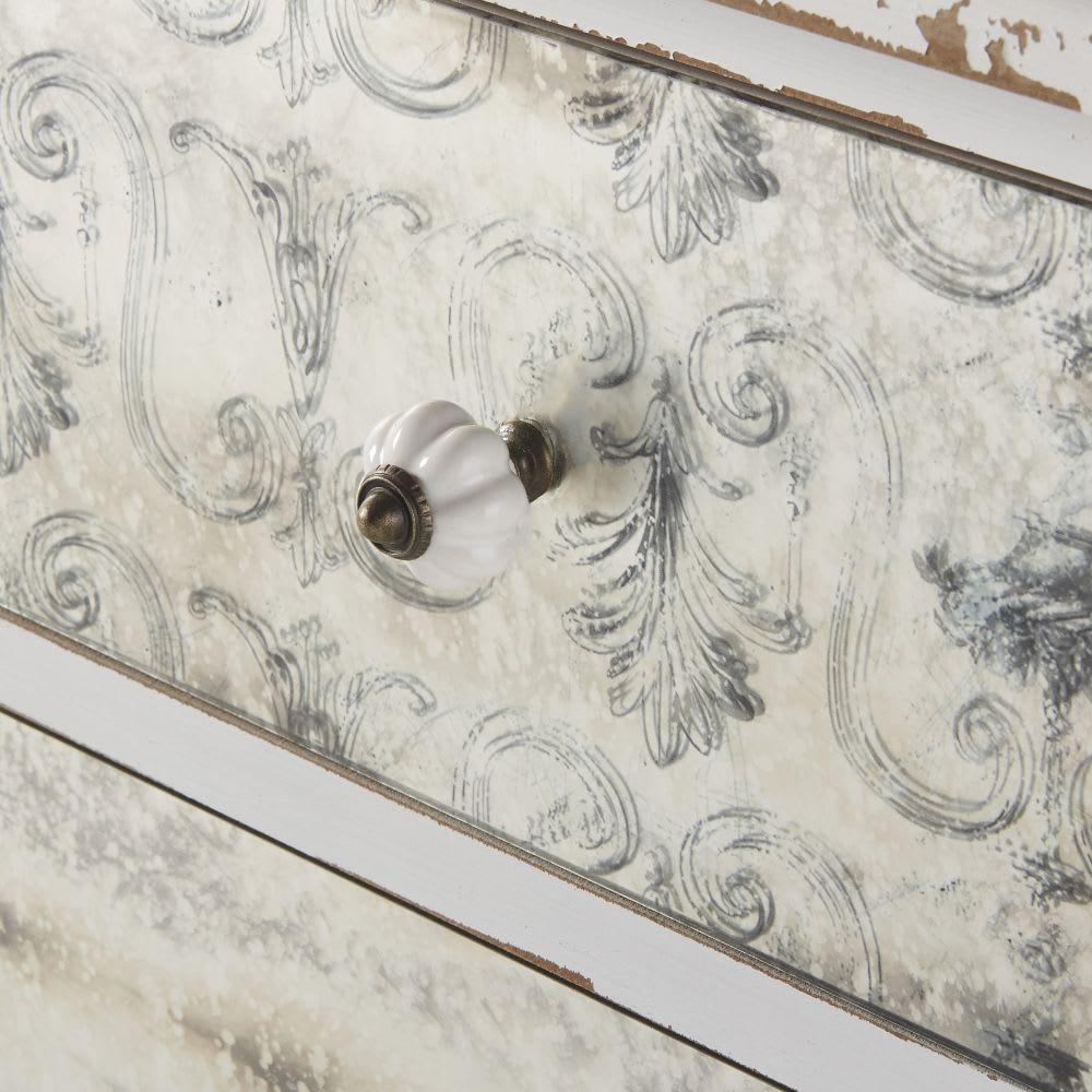 commode 4 tiroirs blanche effet vieilli faustine maisons. Black Bedroom Furniture Sets. Home Design Ideas