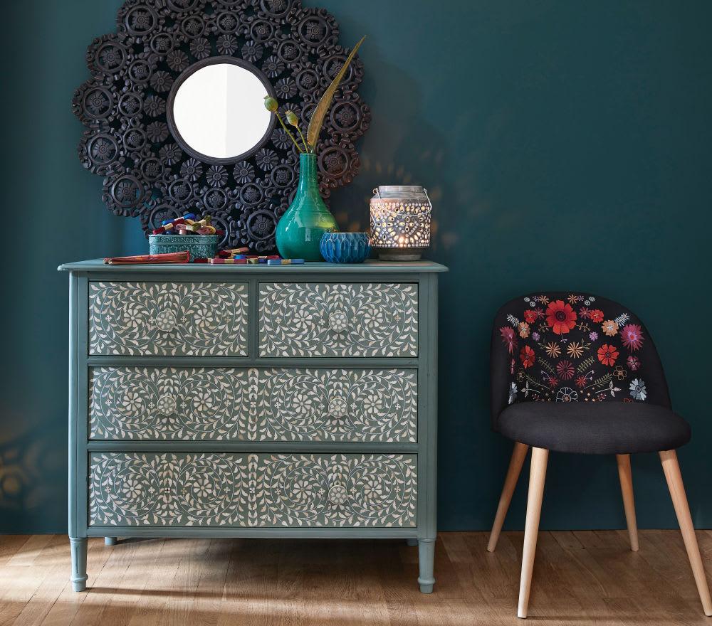 commode 4 tiroirs vert kaki motif floral anoushka. Black Bedroom Furniture Sets. Home Design Ideas