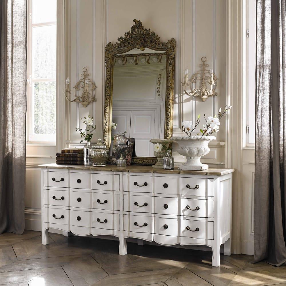 commode 6 tiroirs en acacia et manguier blanche versailles maisons du monde. Black Bedroom Furniture Sets. Home Design Ideas