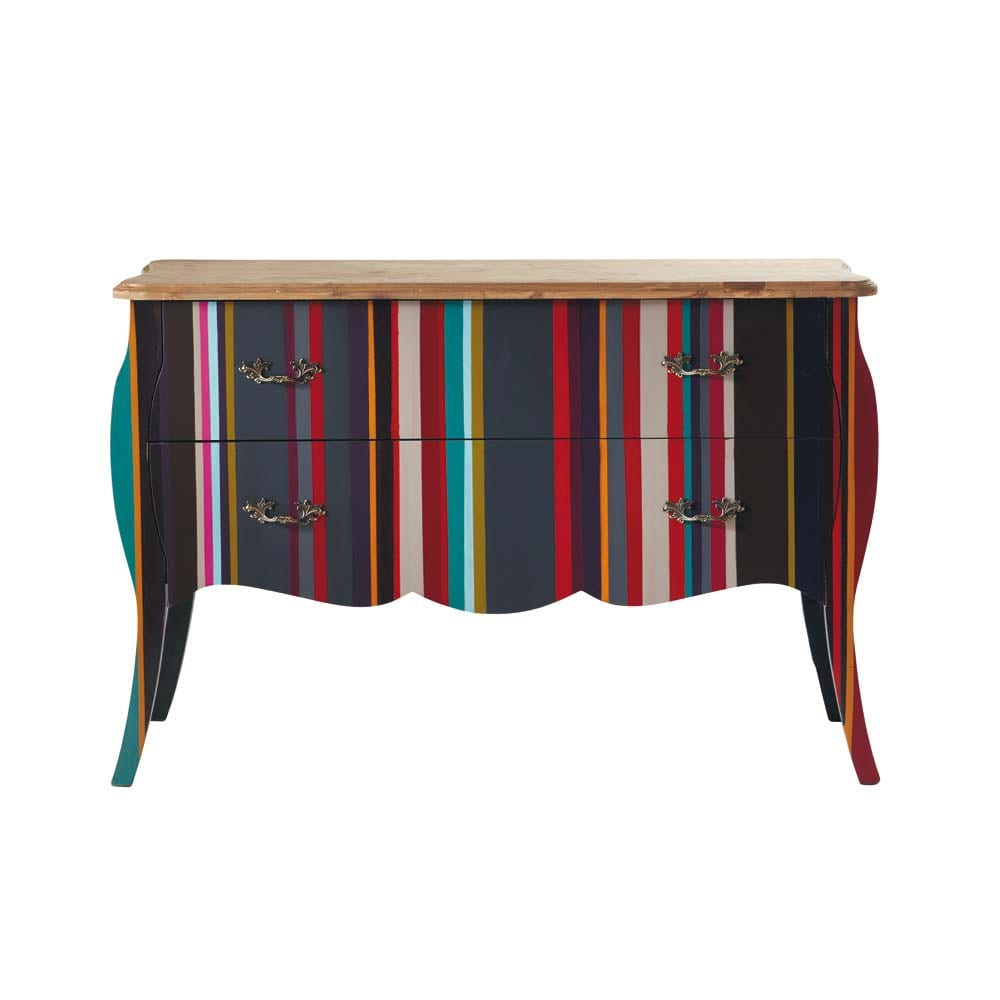 Commode rayures en bois multicolore l 120 cm n on - Maison du monde commode baroque ...