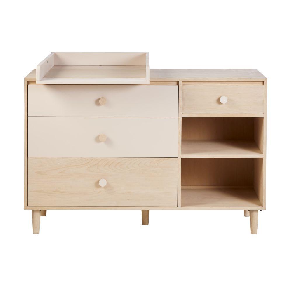commode double 4 tiroirs blanchie et rose poudr lou. Black Bedroom Furniture Sets. Home Design Ideas