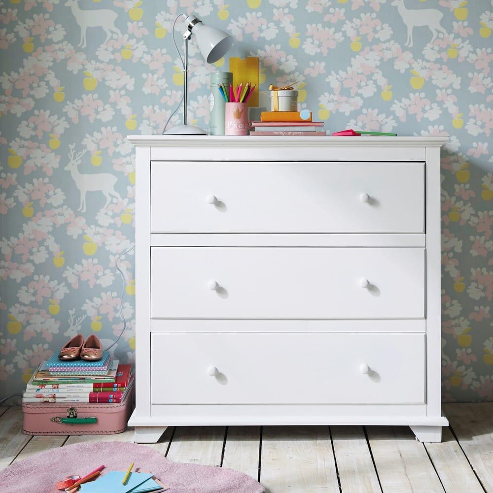 commode en bois blanche l 90 cm pastel maisons du monde. Black Bedroom Furniture Sets. Home Design Ideas