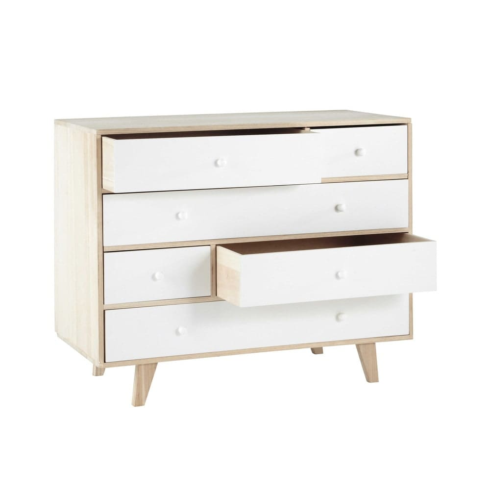 commode style scandinave 6 tiroirs en paulownia blanc spring maisons du monde. Black Bedroom Furniture Sets. Home Design Ideas