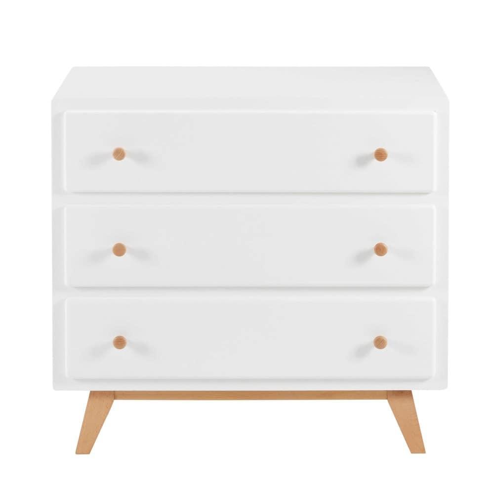 commode vintage 3 tiroirs blanche sweet maisons du monde. Black Bedroom Furniture Sets. Home Design Ideas