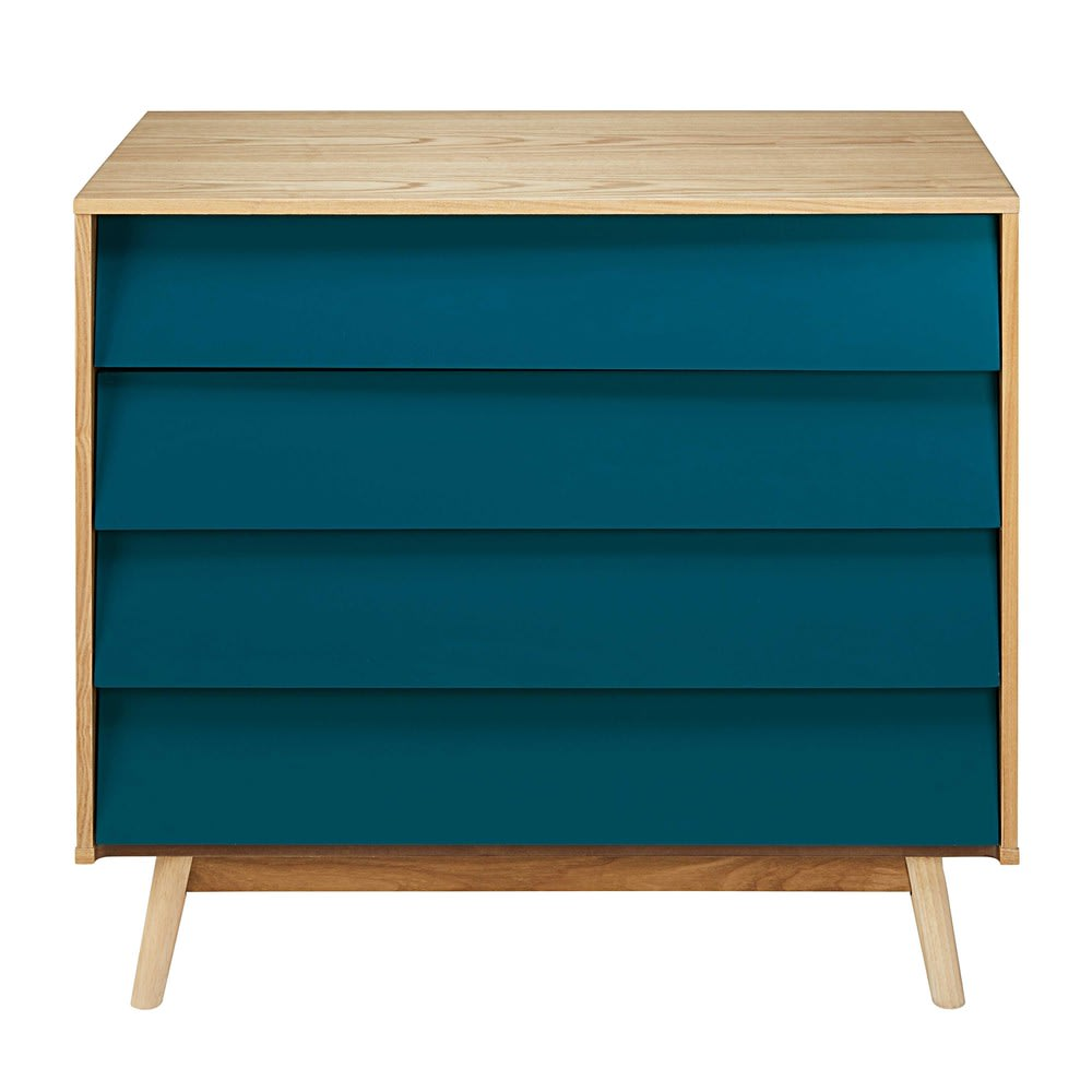 commode vintage 4 tiroirs bleu p trole fjord maisons du. Black Bedroom Furniture Sets. Home Design Ideas