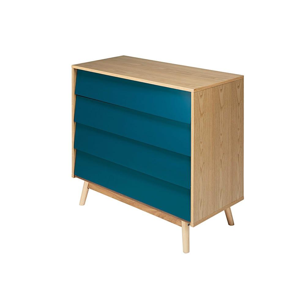 ba508fac12e496 Commode vintage 4 tiroirs bleu pétrole Fjord   Maisons du Monde