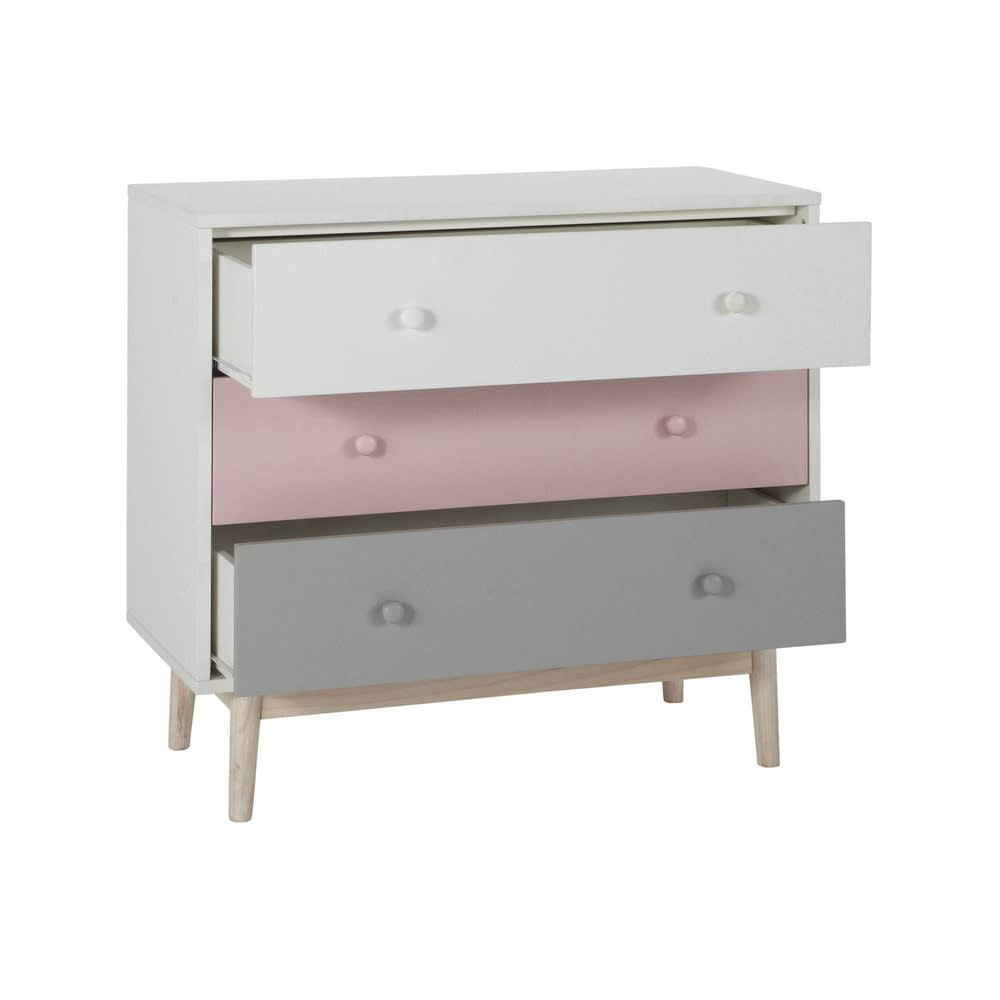 commode vintage blanche rose et grise blush maisons du. Black Bedroom Furniture Sets. Home Design Ideas