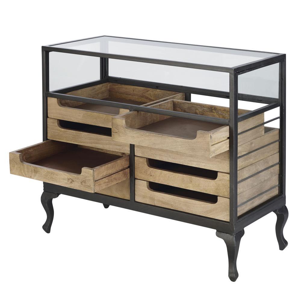 comptoir de magasin vitr en manguier massif et m tal noir. Black Bedroom Furniture Sets. Home Design Ideas