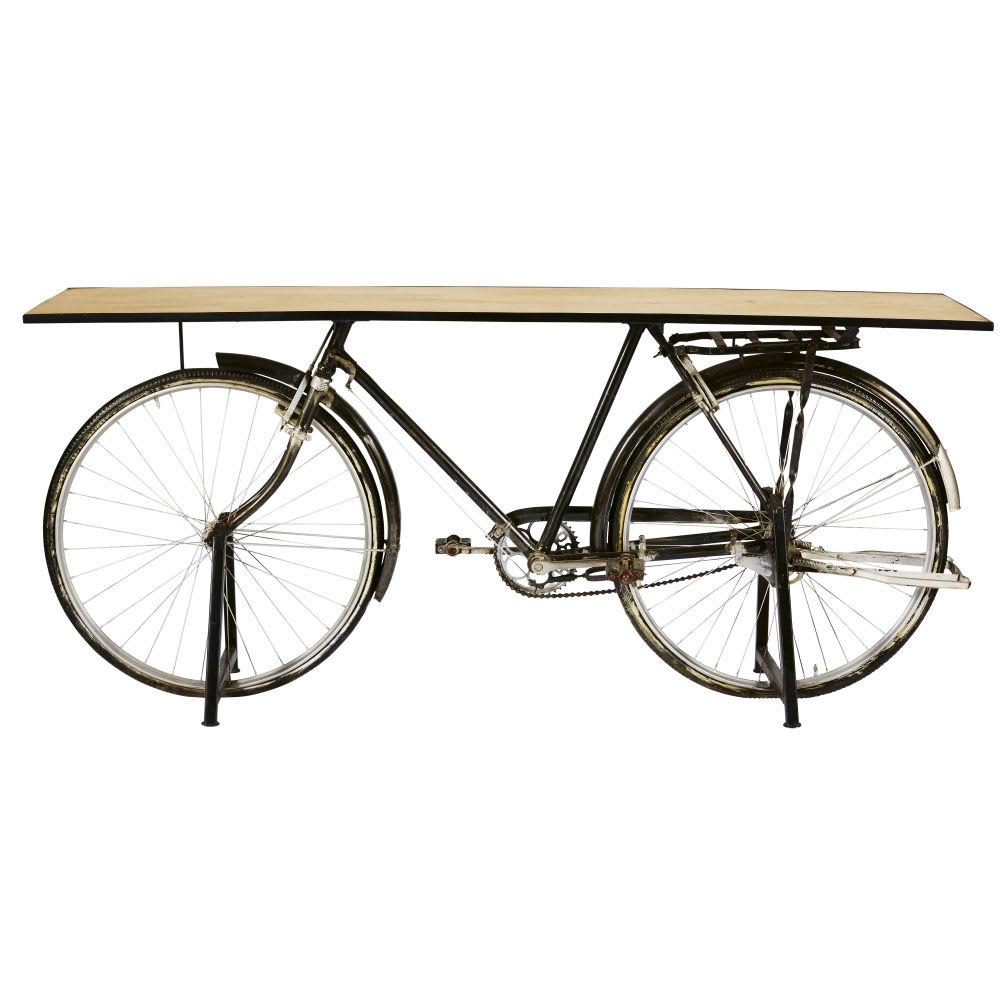 Bicyclette Image console bicyclette indus en manguier et métal noir bicyclette
