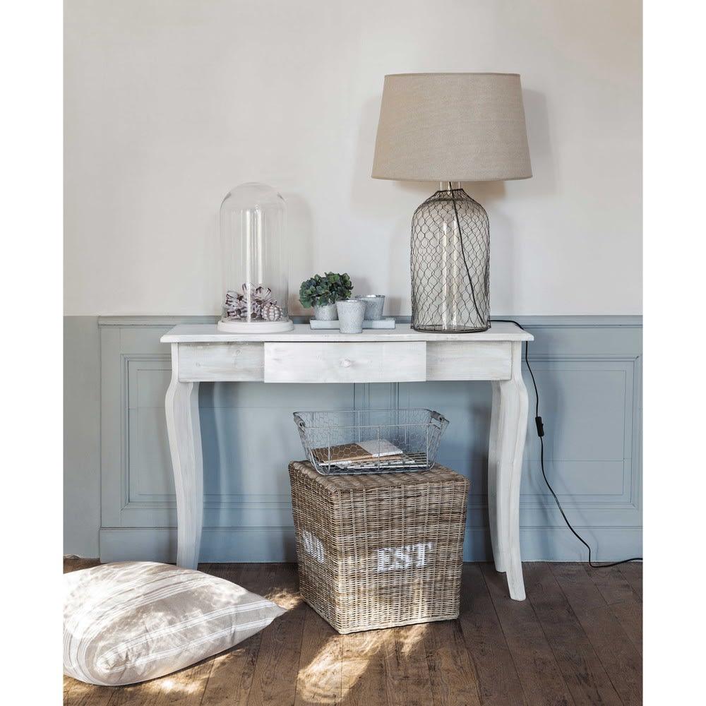 console en sapin grise aliette maisons du monde. Black Bedroom Furniture Sets. Home Design Ideas