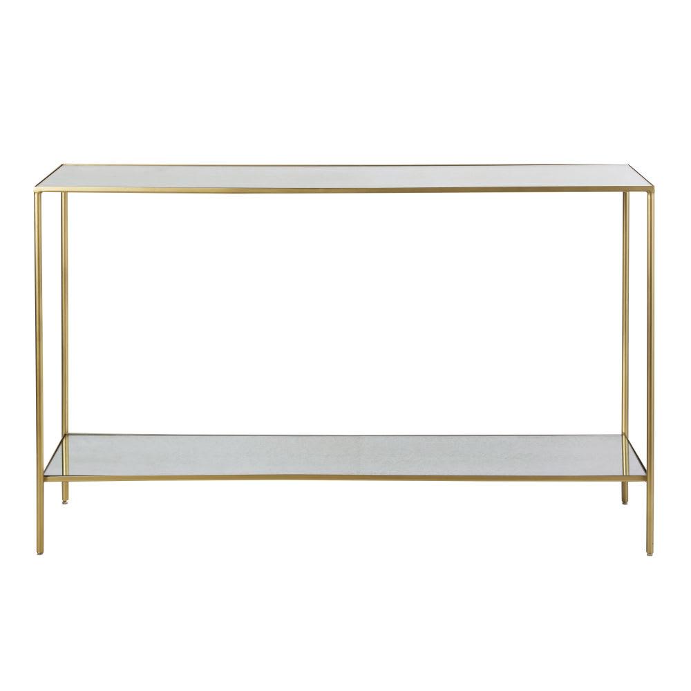 Consolle con piani in specchio e metallo color ottone Venicie ...