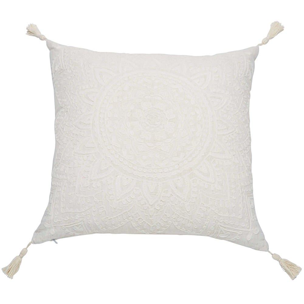 Coussin à pompons en coton blanc 45x45cm