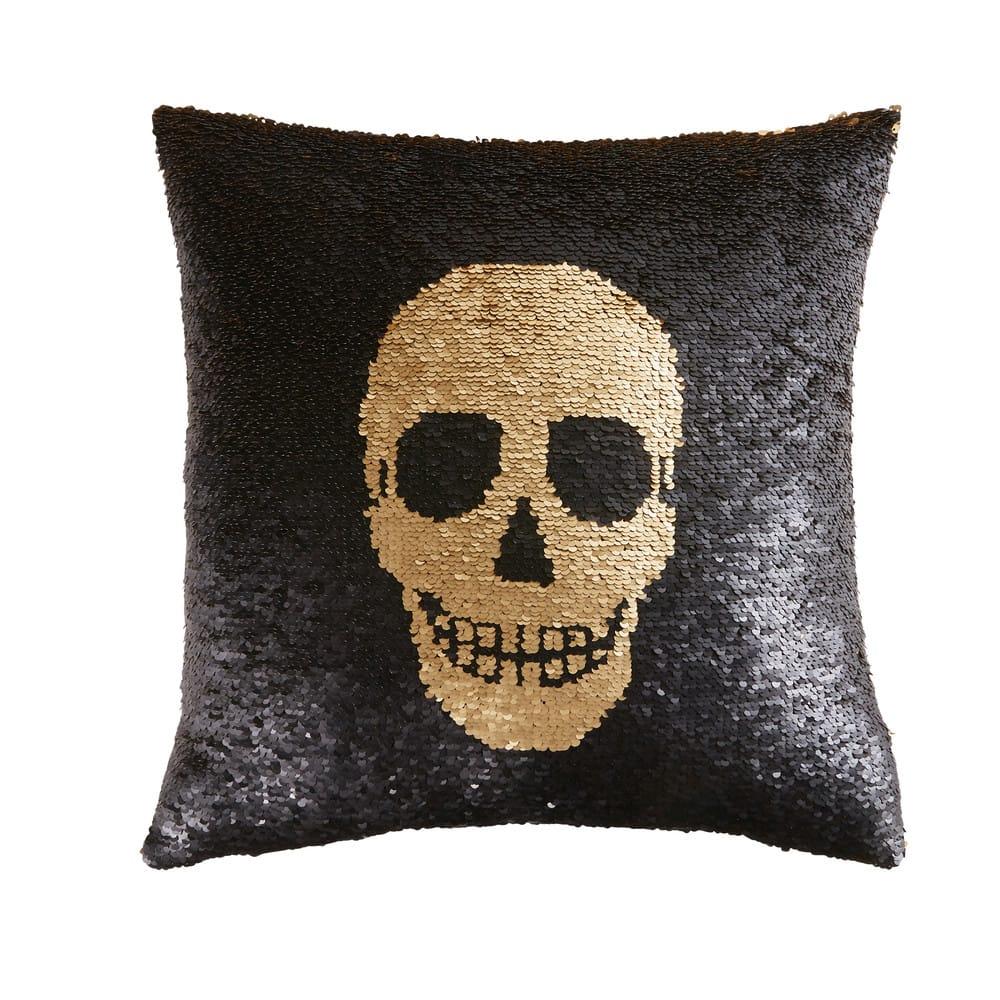 coussin sequins r versibles imprim t te de mort 45x45. Black Bedroom Furniture Sets. Home Design Ideas