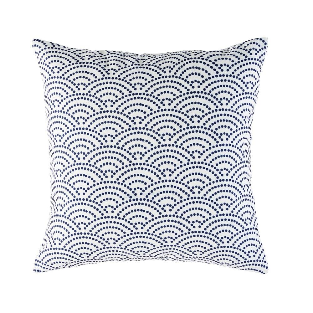 coussin d 39 ext rieur blanc motifs graphiques bleus 45x45 tinos maisons du monde. Black Bedroom Furniture Sets. Home Design Ideas