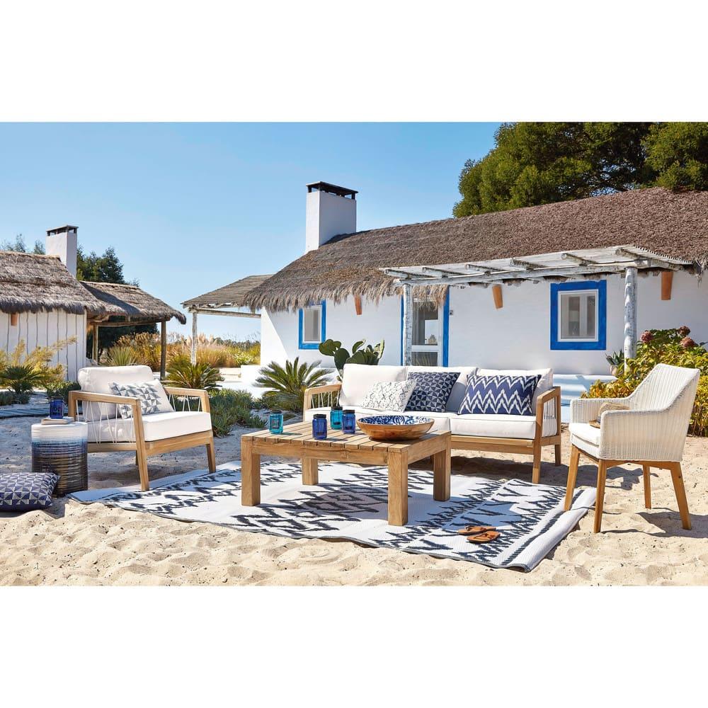 coussin d 39 ext rieur bleu motifs graphiques blancs 40x60 naxos maisons du monde. Black Bedroom Furniture Sets. Home Design Ideas