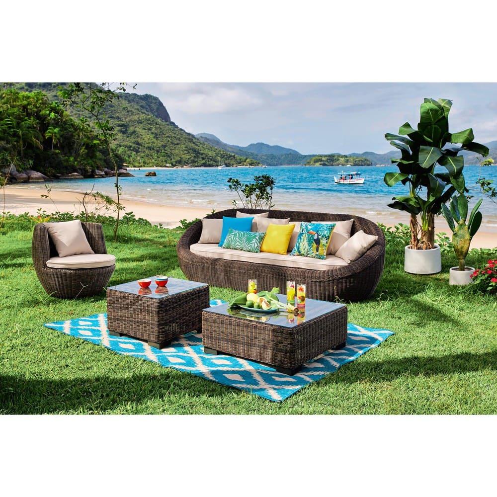 coussin d 39 ext rieur bleu turquoise 50x50 maisons du monde. Black Bedroom Furniture Sets. Home Design Ideas