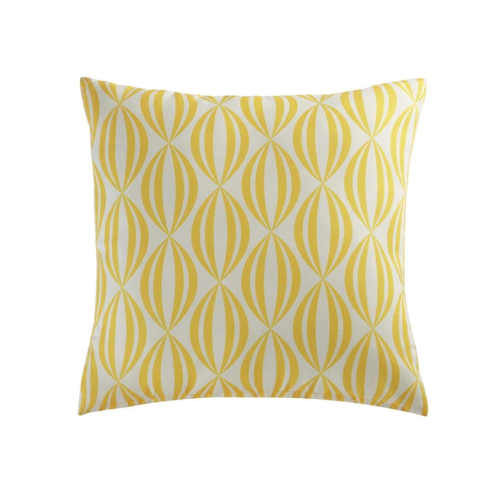 coussin d 39 ext rieur jaune blanc 45x45 filao maisons du monde. Black Bedroom Furniture Sets. Home Design Ideas