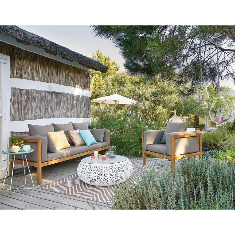coussin d 39 ext rieur jaune motifs graphiques 45x45 portofino maisons du monde. Black Bedroom Furniture Sets. Home Design Ideas