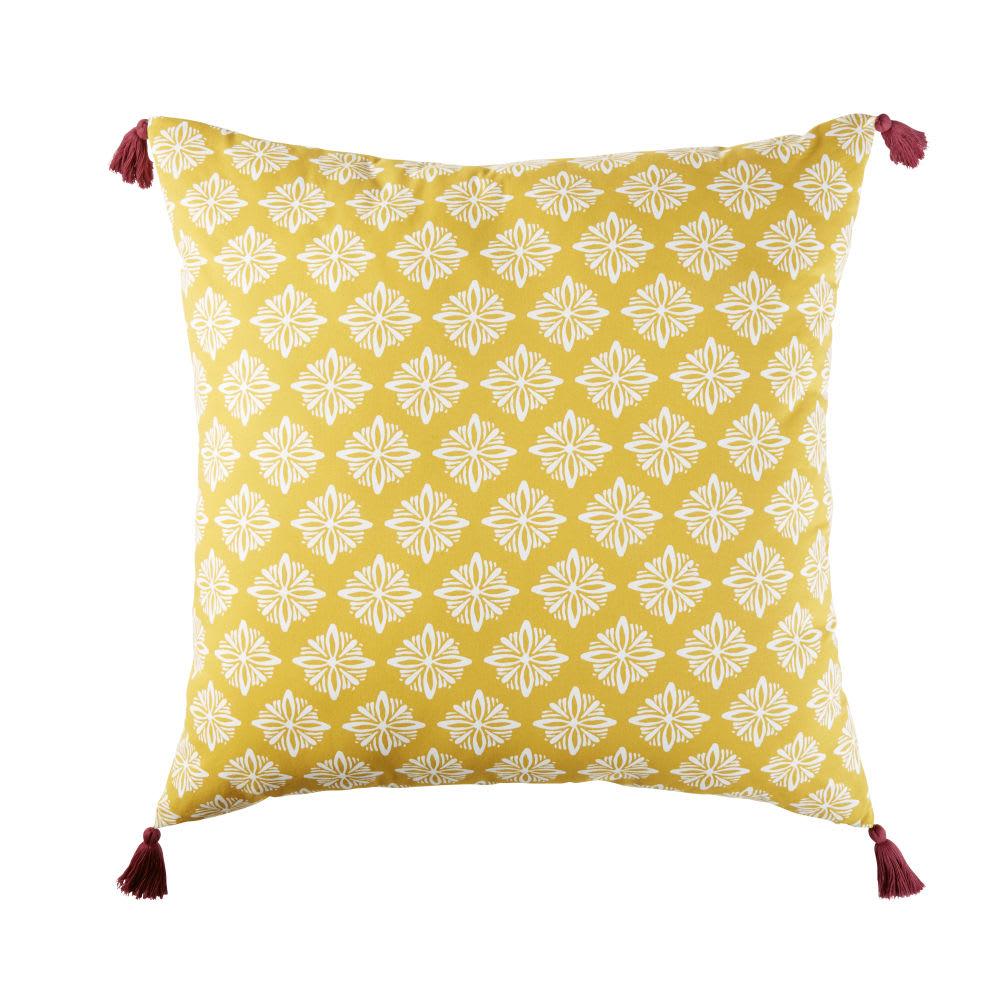 coussin de sol d 39 ext rieur en coton jaune motifs. Black Bedroom Furniture Sets. Home Design Ideas