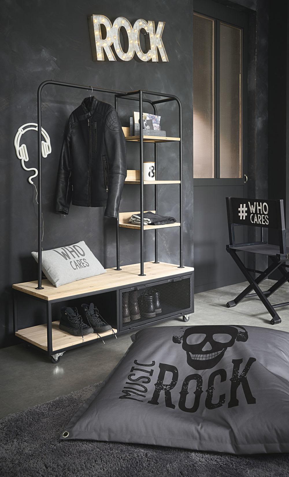 coussin de sol gris imprim noir 100x100 rebel maisons. Black Bedroom Furniture Sets. Home Design Ideas