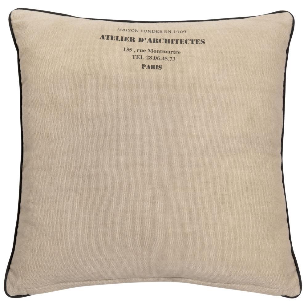 Coussin en coton beige 60 x 60 cm Atelier