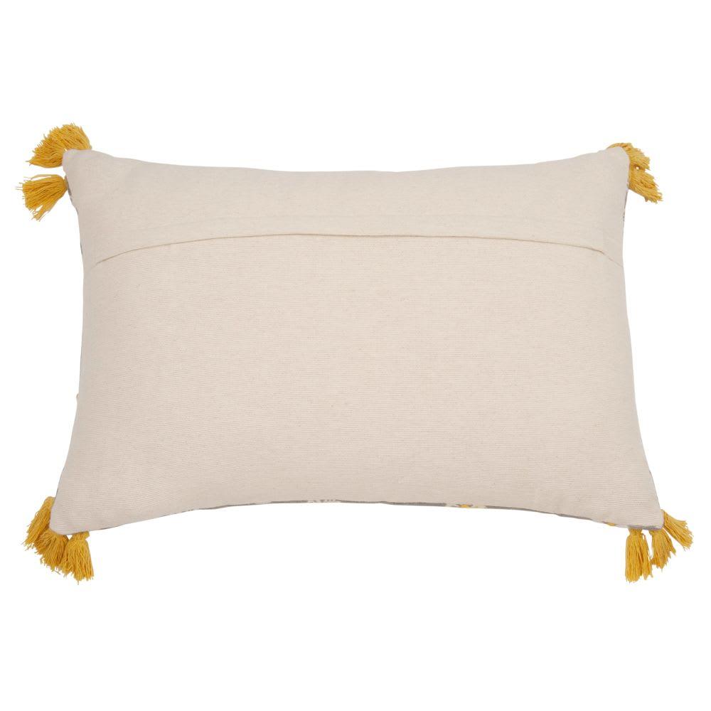 coussin en coton beige et gris motif floral 40x60 pivoine. Black Bedroom Furniture Sets. Home Design Ideas