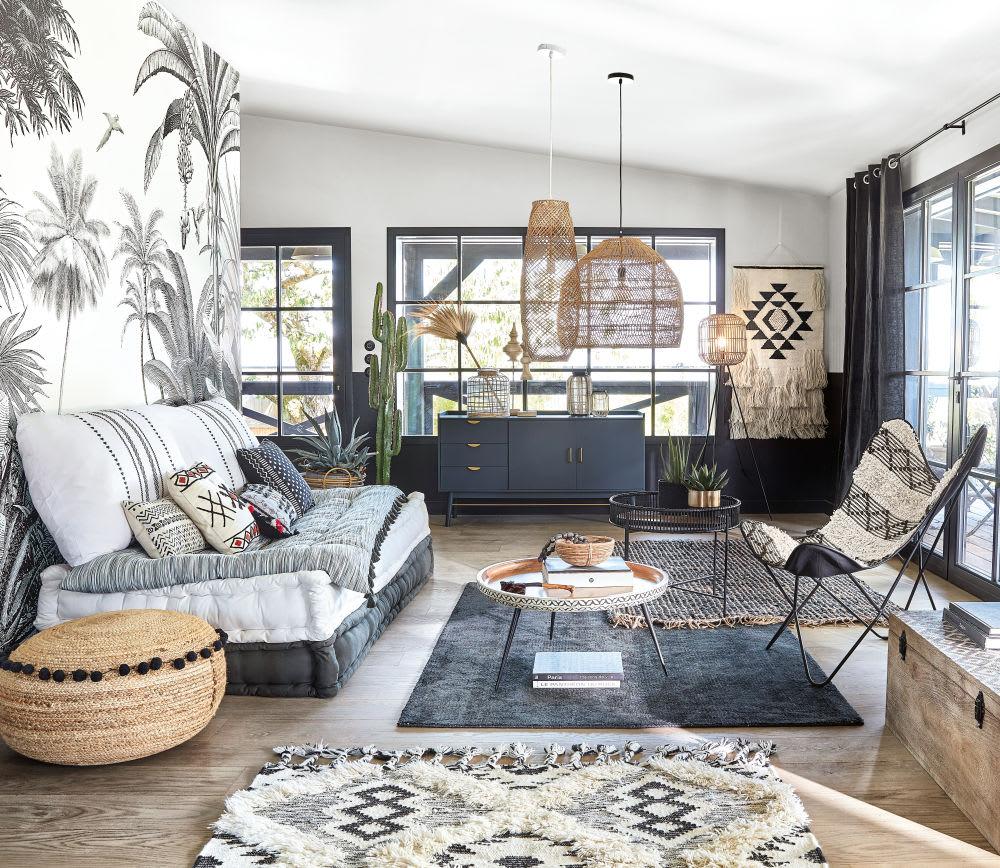 coussin en coton blanc imprim graphiques noirs 30x50. Black Bedroom Furniture Sets. Home Design Ideas