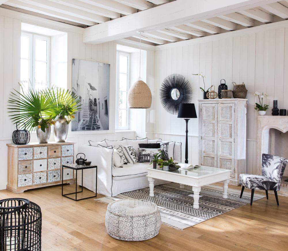 coussin en coton blanc imprim paysage gris 35x50 leonie. Black Bedroom Furniture Sets. Home Design Ideas
