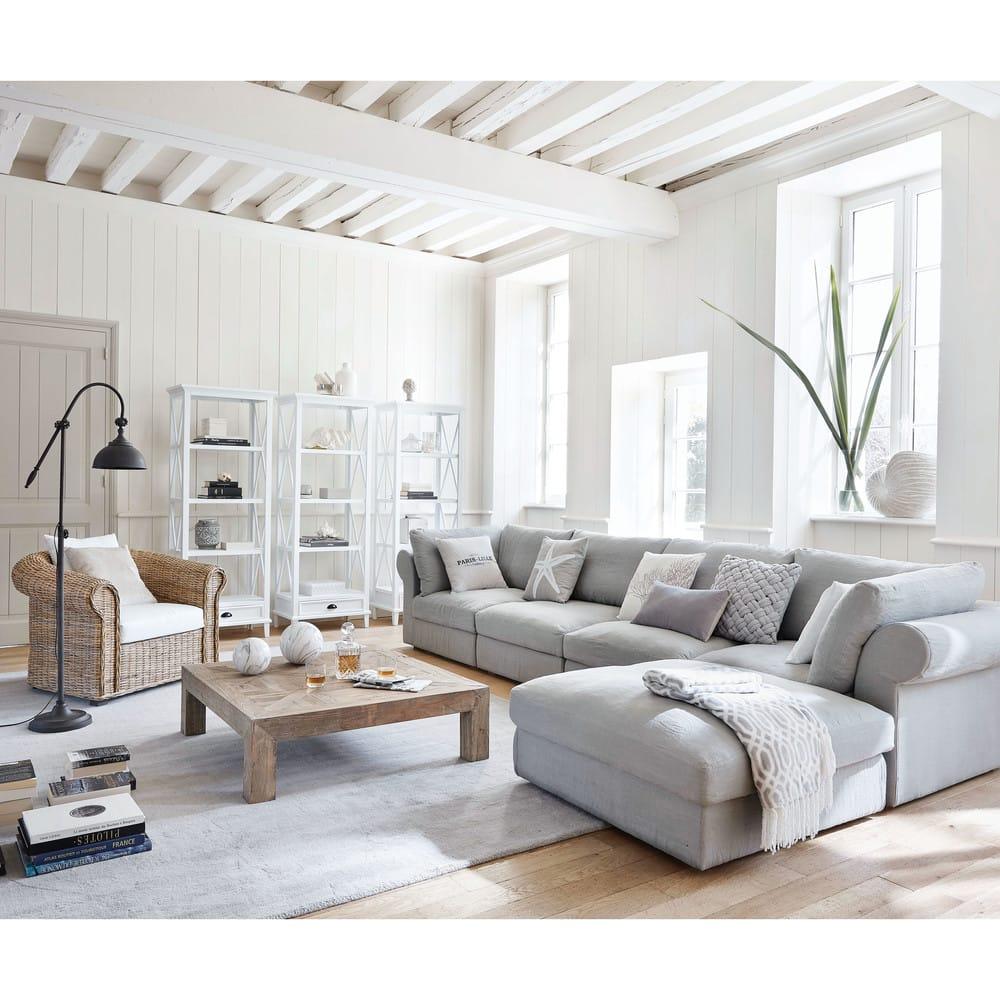 coussin en coton gris et blanc 45x45cm coral maisons du. Black Bedroom Furniture Sets. Home Design Ideas