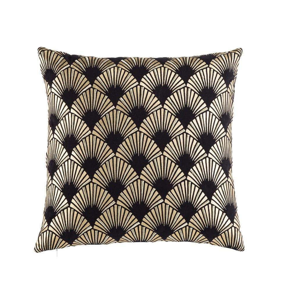 Coussin en coton noir motifs graphiques doré