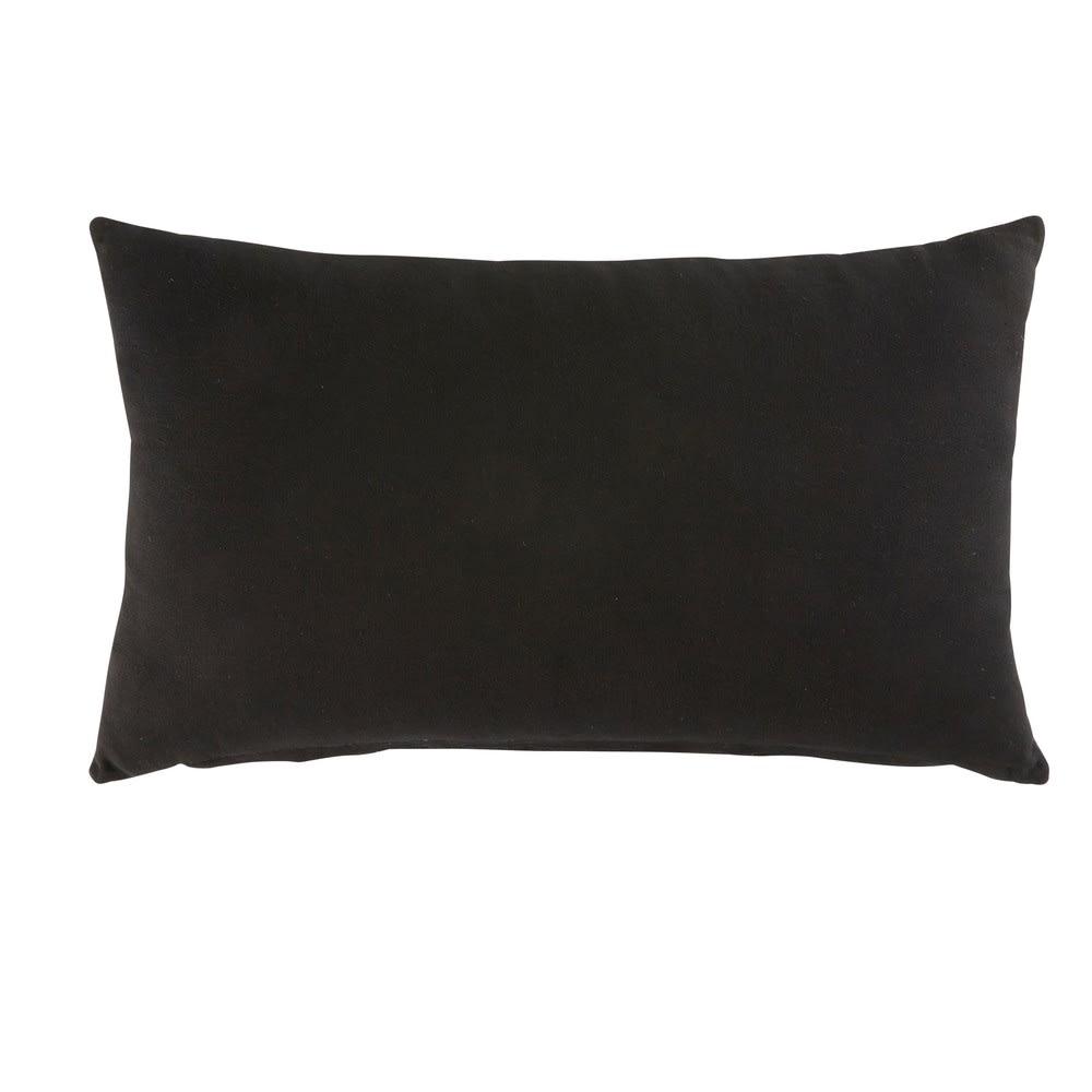 Coussin en cuir et coton noir effet matelassé