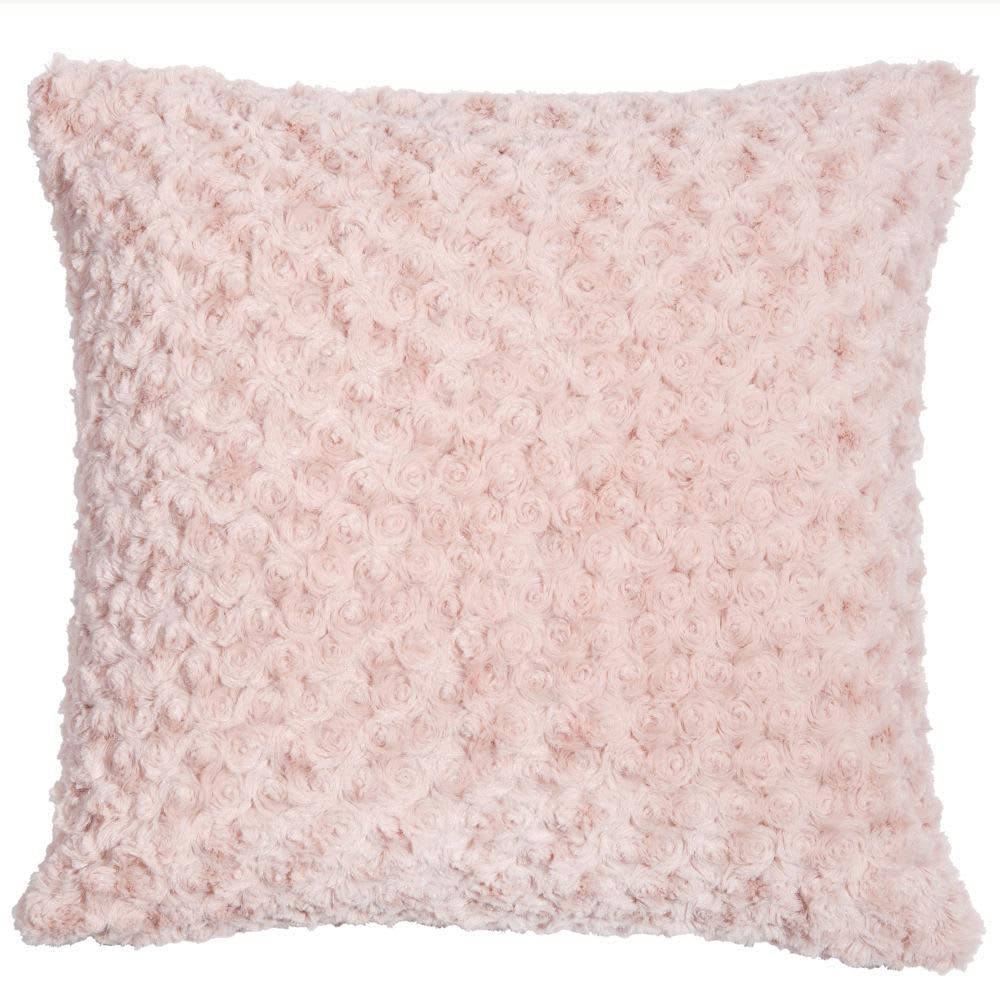 Coussin en fausse fourrure rose 45 x 45 cm