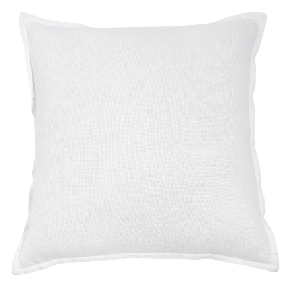 Coussin en lin lavé blanc 45x45 | Maisons