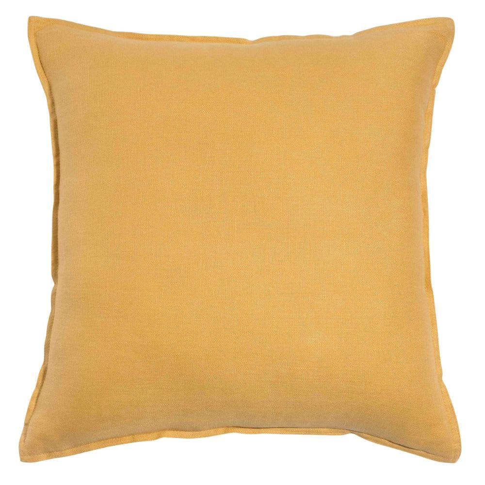 Coussin en lin lavé jaune 45x45 | Maisons