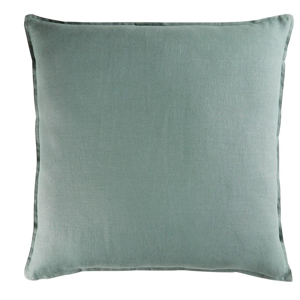 Coussin en lin lavé vert de gris 60x60  