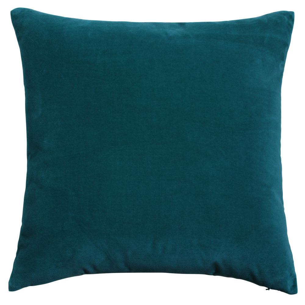 Coussin en velours bleu canard 45x45 | Maisons