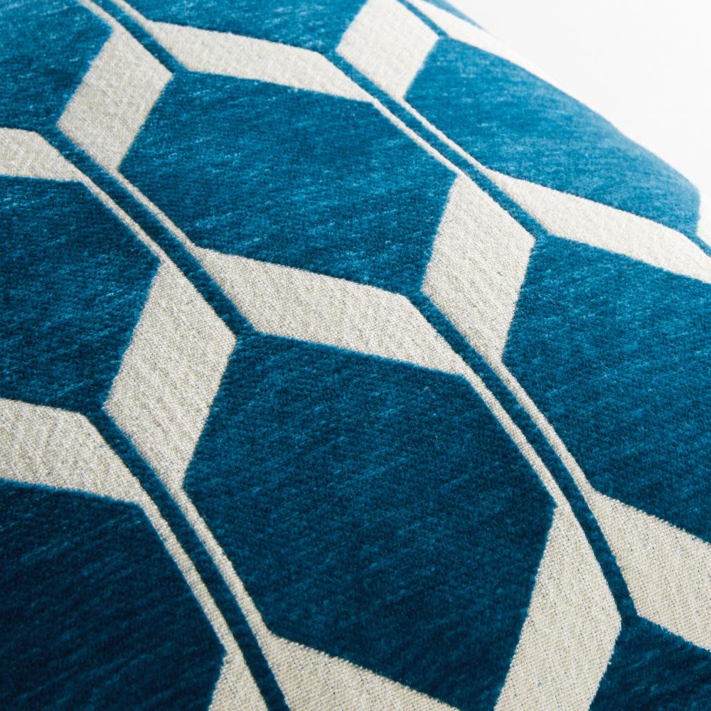 coussin en velours bleu canard motifs jacquard 60x60 aston. Black Bedroom Furniture Sets. Home Design Ideas