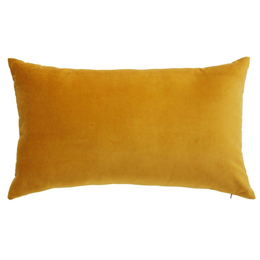 Coussin en velours jaune moutarde 30x50cm