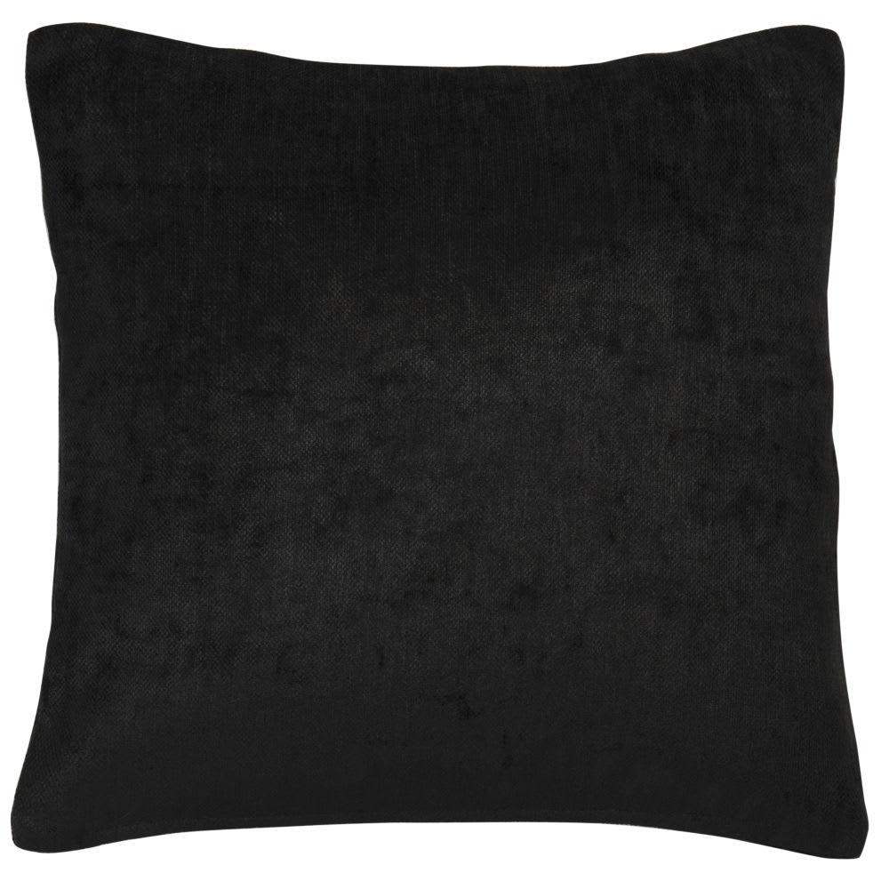 Coussin en velours noir 45 x 45 cm Vintage
