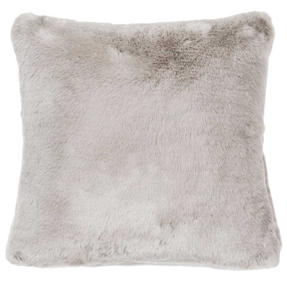 Coussin fausse fourrure gris 45 x 45 cm Swart