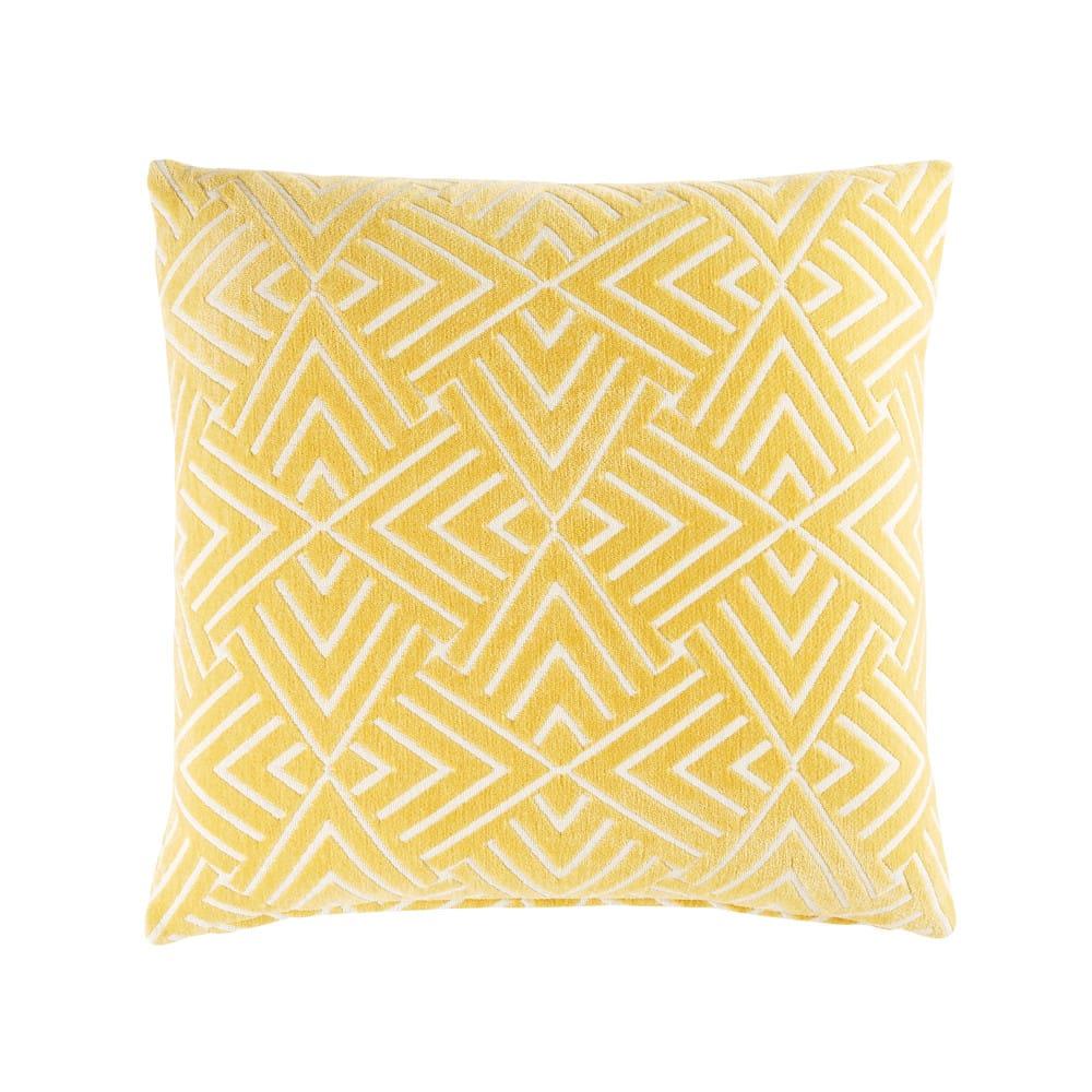 Coussin jaune motifs graphiques blancs 45