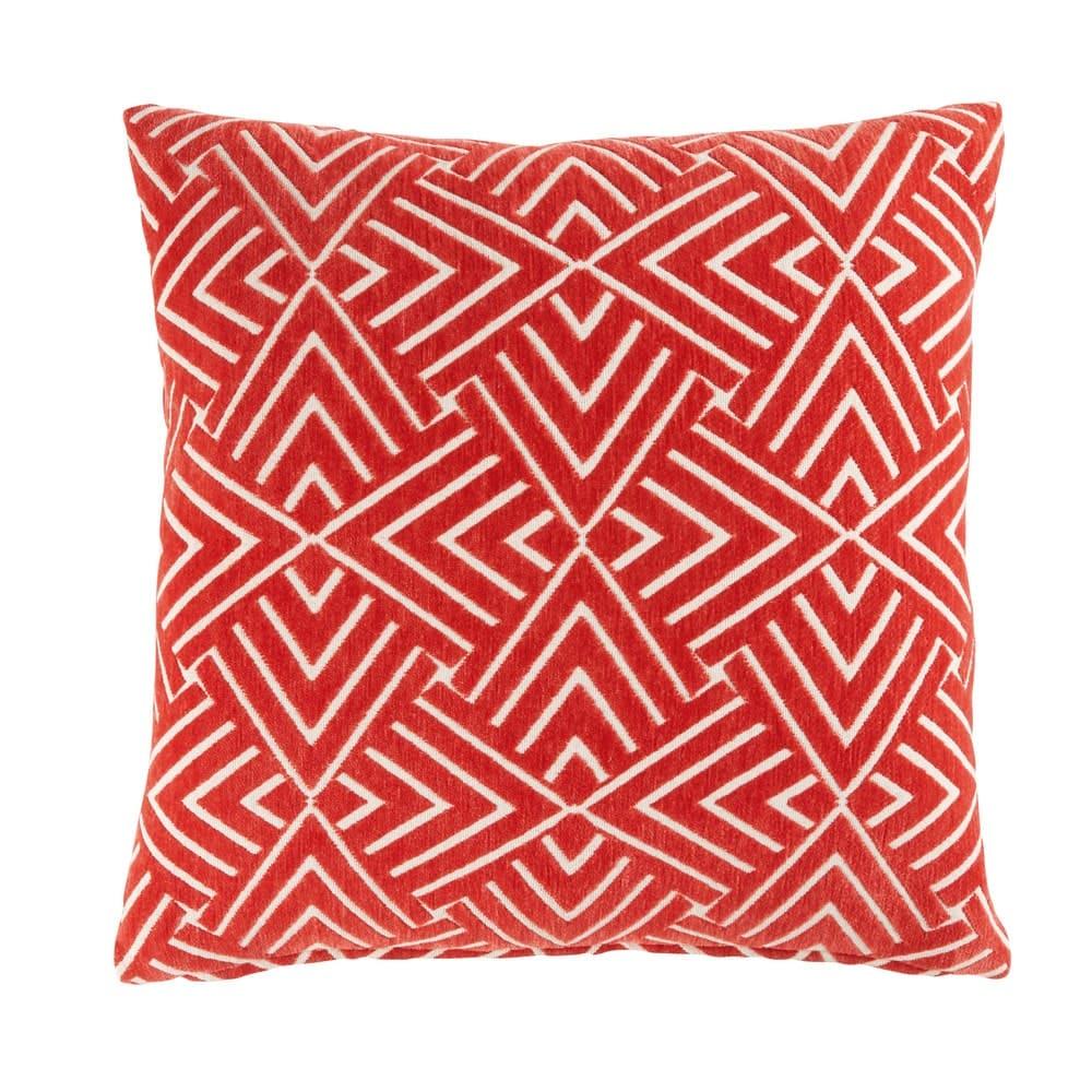 Coussin rouge motifs graphiques blancs 45