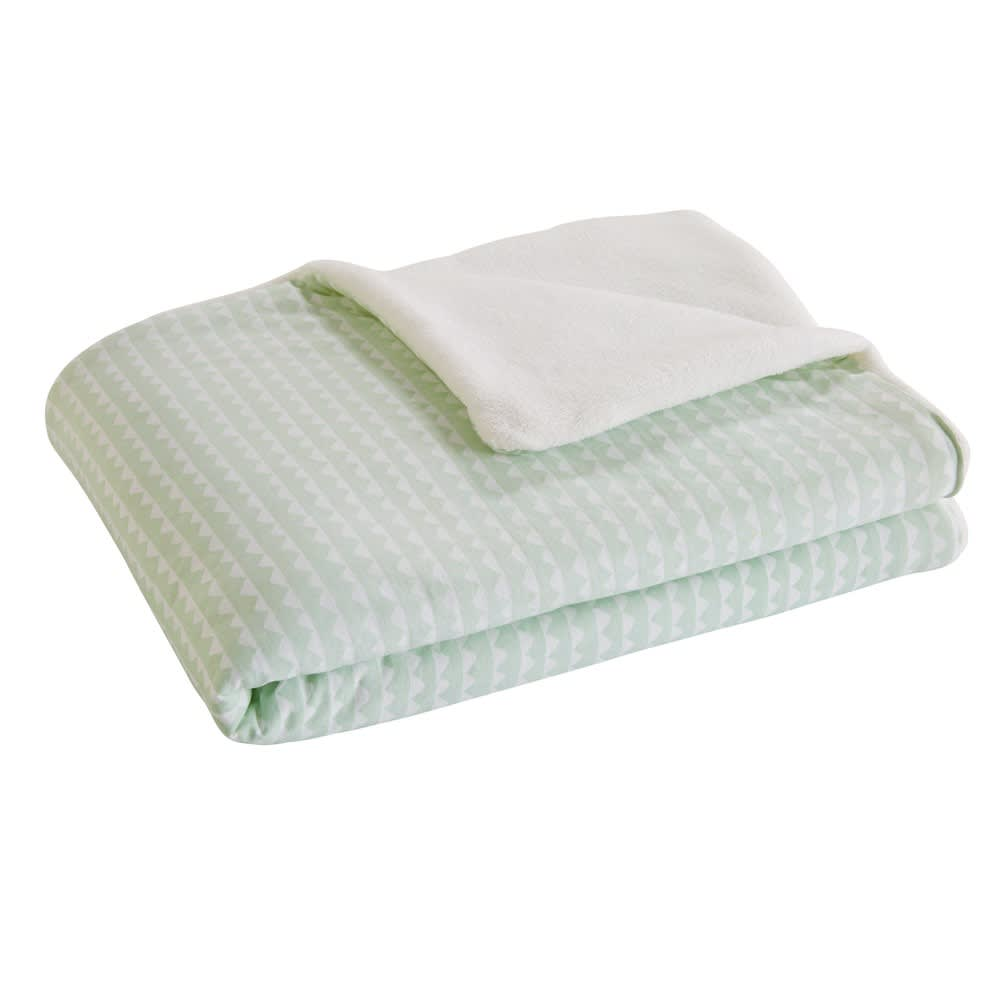 couverture b b vert d 39 eau motifs blancs 100x75cm. Black Bedroom Furniture Sets. Home Design Ideas