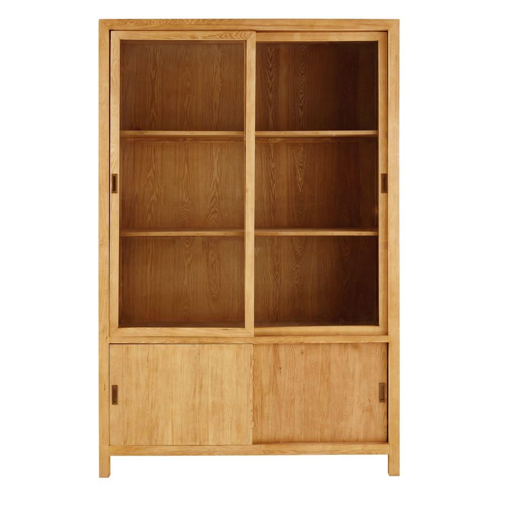 Credenza a 4 ante in legno massello di frassino e vetro temprato ...