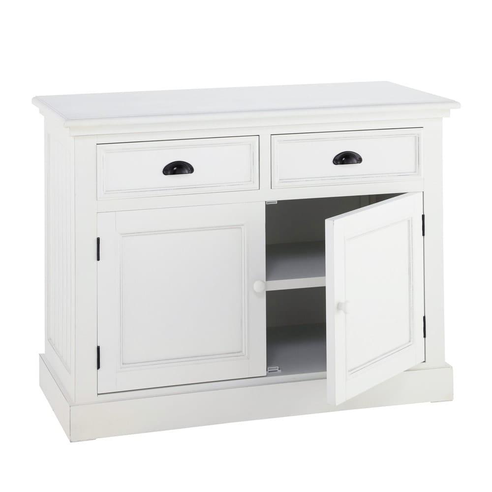 credenza bianca in legno l 106 cm newport maisons du monde. Black Bedroom Furniture Sets. Home Design Ideas