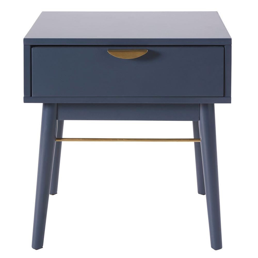 Bon Dark Blue 1 Drawer Bedside Table Penelope