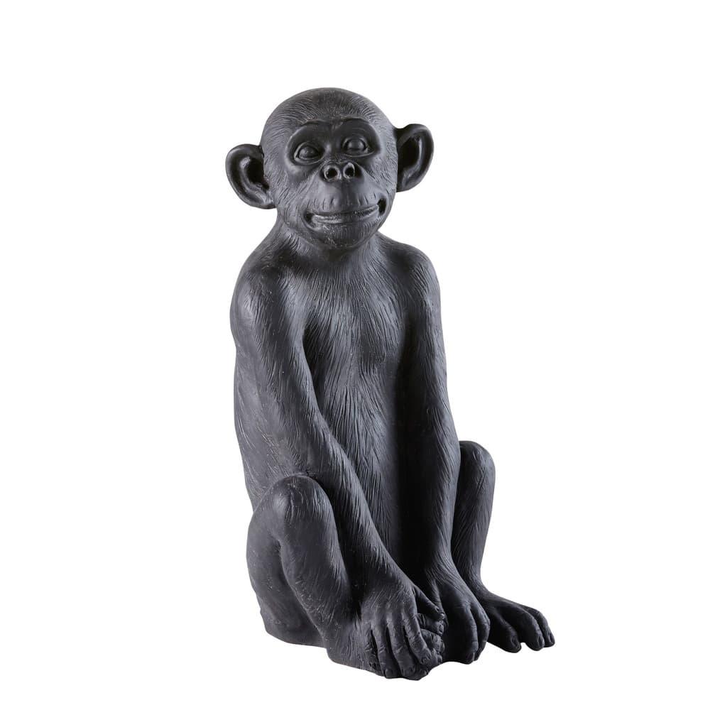 little gandhi - déco de jardin singe en résine noire h56